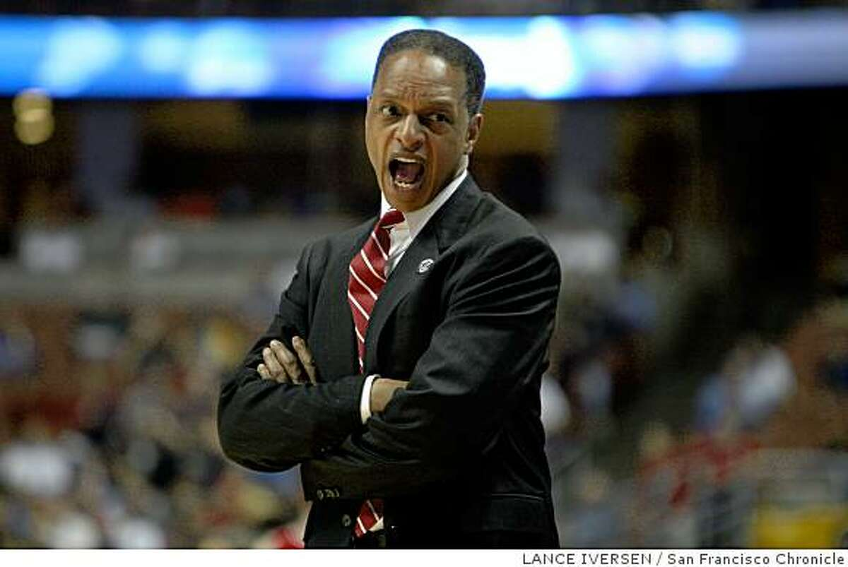 Stanford head coach Trent Johnson calls out a play in second half action of the South Regional NCAA Division 1 Men's Basketball Tournament on Thursday, March 20, 2008 in Anaheim, Calif. Stanford defeated Cornell 77-53. Photo By Lance Iversen / San Francisco Chronicle