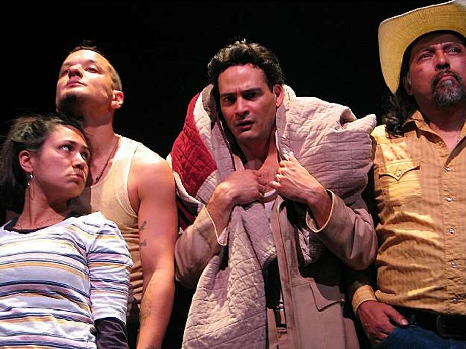 "From left: Maria Candelaria, Sean San Jose (accent / over e in Jose), Johnny Moreno and Richard Talavera in Thick Description's production of Octavio Solis' ""El Otro"" Photo: Allan S. Manolo"