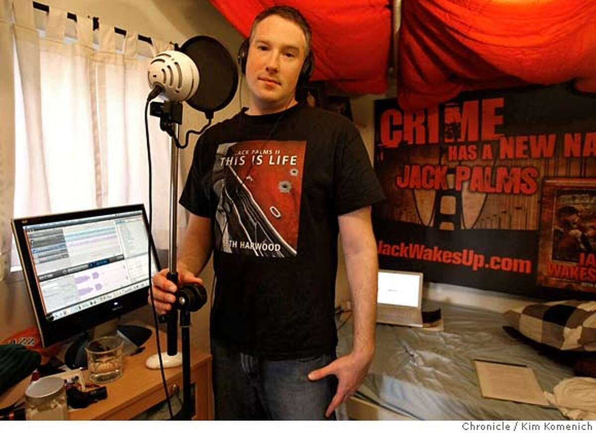 ###Live Caption:Mystery writer and podcaster Seth Harwood, photographed in his Berkeley, Calif., home studio on March 23, 2008, has just learned that his book