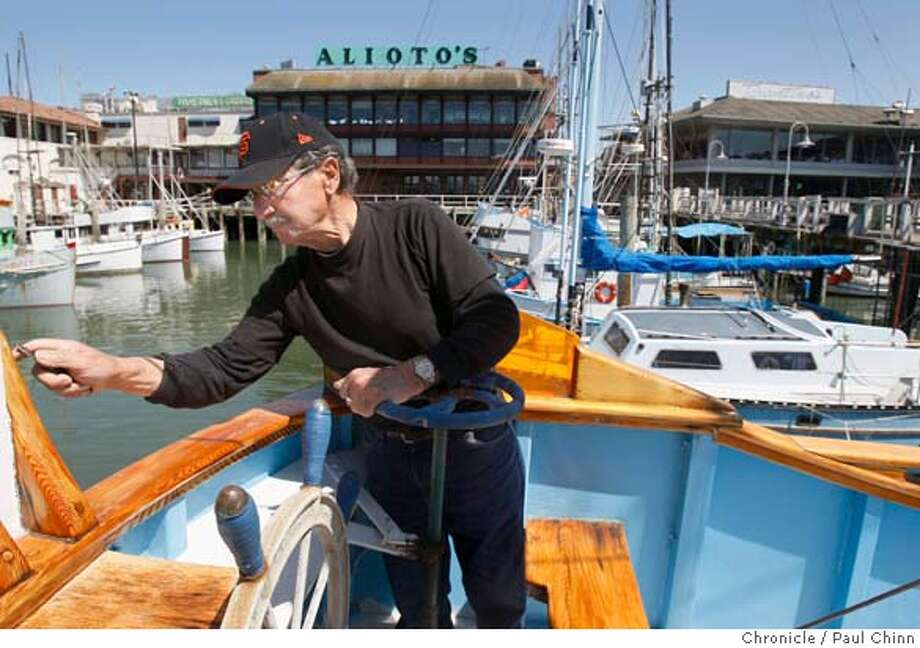 "###Live Caption:Frank Damato does maintenance work on his fishing boat, Leonilda, at Fisherman's Wharf in San Francisco, Calif., on Thursday, April 10, 2008. Damato, who's been a fisherman for over 60 years, says the possible ban on salmon fishing, ""will put me out of business."" Photo by Paul Chinn / San Francisco Chronicle###Caption History:Frank Damato does maintenance work on his fishing boat, Leonilda, at Fisherman's Wharf in San Francisco, Calif., on Thursday, April 10, 2008. Damato, who's been a fisherman for over 60 years, says the possible ban on salmon fishing, ""will put me out of business."" Photo by Paul Chinn / San Francisco Chronicle###Notes:Frank Damato###Special Instructions:MANDATORY CREDIT FOR PHOTOGRAPHER AND S.F. CHRONICLE/NO SALES - MAGS OUT Photo: Paul Chinn"
