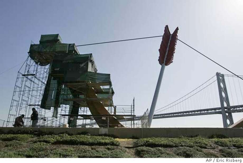 """###Live Caption:Tim Haentjens, left, and Tom Wydler, right, erect scaffolding around the sculpture """"Cupid's Span"""" along the Embarcadero in San Francisco, Thursday, April 3, 2008. The sculpture is undergoing a resurfacing. (AP Photo/Eric Risberg)###Caption History:Tim Haentjens, left, and Tom Wydler, right, erect scaffolding around the sculpture """"Cupid's Span"""" along the Embarcadero in San Francisco, Thursday, April 3, 2008. The sculpture is undergoing a resurfacing. (AP Photo/Eric Risberg)###Notes:###Special Instructions:STAND ALONE PHOTO Photo: Eric Risberg"""