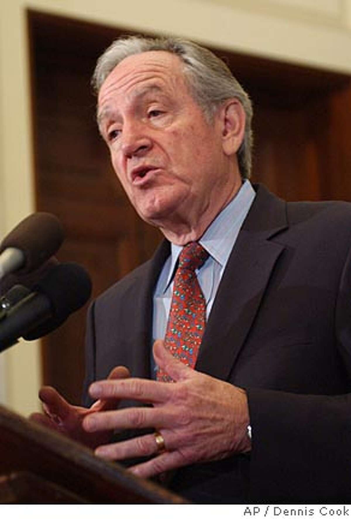 Incoming Senate Agriculture Committee Chairman, Sen. Tom Harkin, D-Iowa, gestures during a news conference on Capitol Hill in Washington, Tuesday, Dec. 12, 2006. (AP Photo/Dennis Cook)