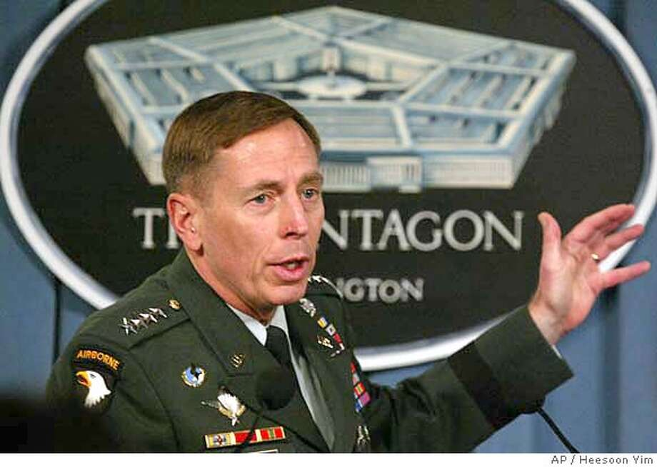 ###Live Caption:Gen. David Petraeus, the top U.S. commander in Iraq, gestures during a news conference at the Pentagon, Thursday, April 26, 2007. (AP Photo/Heesoon Yim) Ran on: 07-16-2007 Gen. David Petraeus confers directly with President Bush on conditions in Iraq.###Caption History:Gen. David Petraeus, the top U.S. commander in Iraq, gestures during a news conference at the Pentagon, Thursday, April 26, 2007. (AP Photo/Heesoon Yim)  Ran on: 07-16-2007  Gen. David Petraeus confers directly with President Bush on conditions in Iraq.###Notes:###Special Instructions: Photo: Heesoon Yim