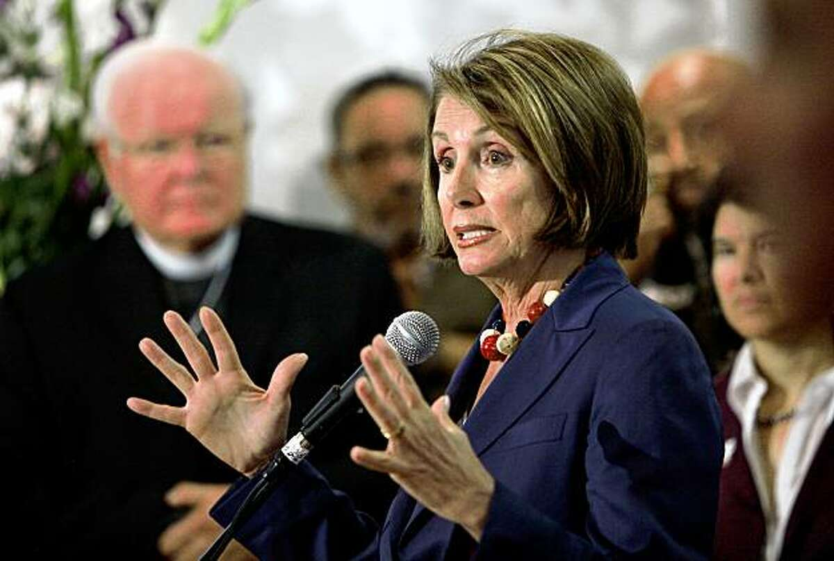 SAN FRANCISCO - AUGUST 20: U.S. Speaker of the House Nancy Pelosi gestures as she speaks during a news conference following a roundtable discussion on health care August 20, 2009 at St. James Episcopal Churh in San Francisco, California. Speaker Pelosi met with community and local faith leaders to discuss the importance of health care reform. (Photo by Justin Sullivan/Getty Images)