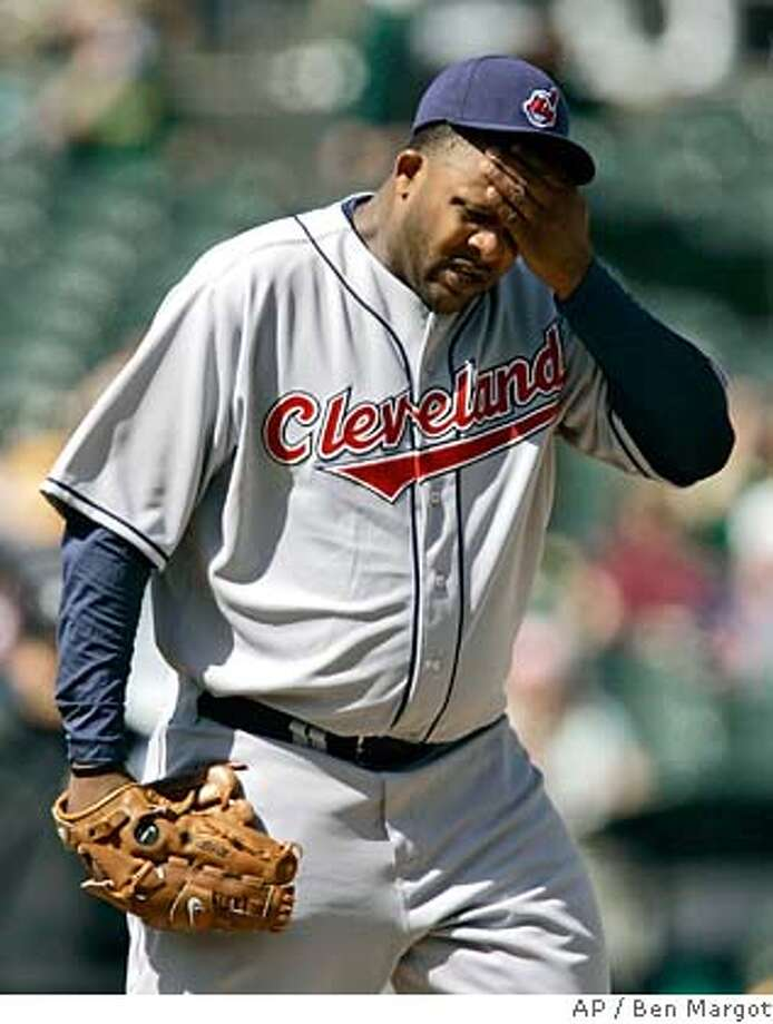 Cleveland Indians' C. C. Sabathia wipes his brow during the sixth inning of a baseball game against the Oakland Athletics on Saturday, April 5, 2008, in Oakland, Calif. (AP Photo/Ben Margot) Photo: Ben Margot