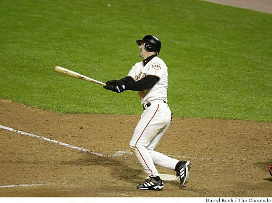On Oct. 24, 2002, Jeff Kent watches his home run jump out of the stadium to left field to make the score 8-4 Giants over the Angels in Games 5 of the World Series at Pac Bell Park in San Francisco. Darryl Bush/San Francisco Chronicle Photo: Darryl Bush, The Chronicle