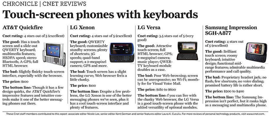 Touch-screen phones with keyboards (Courtesy of CNET)