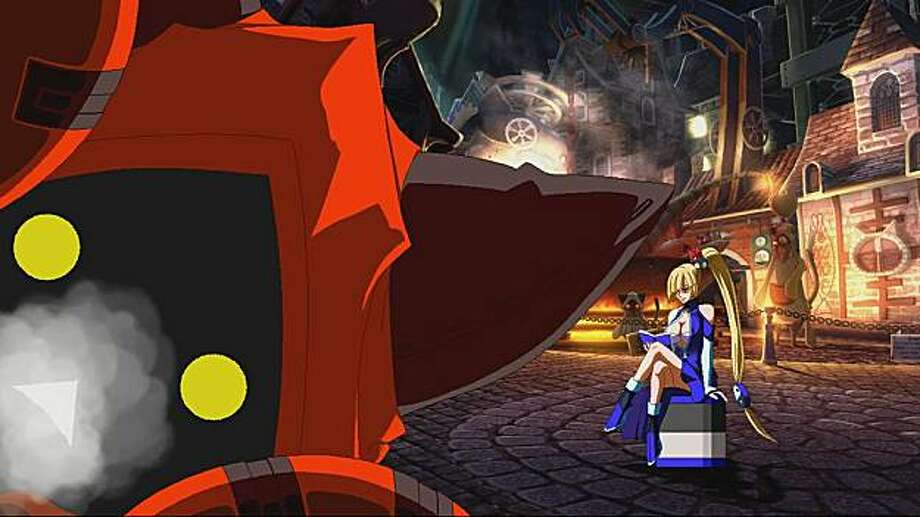 screen shot of BlazBlue for games18 BlazBlue features a varied cast of fighters that occupy a lushly detailed world. Here, the character Taokaka (left) takes a closer look while Litchi Faye Ling awaits the start of the first round. Photo: X Aksys Games