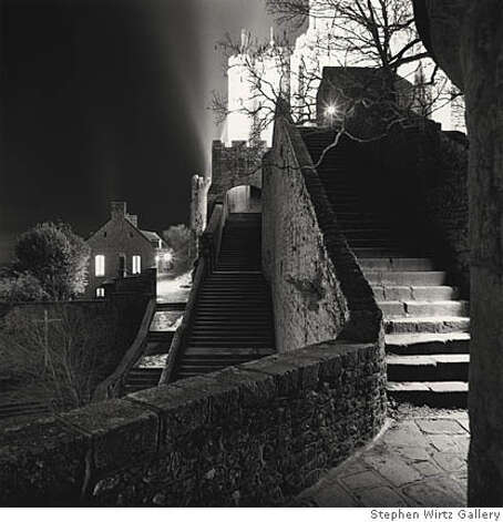 """Outer Staircase, Mont St. Michel, France"" (2004) sepia toned silver gelatin print by Michael Kenna Photo: Kenneth Baker"