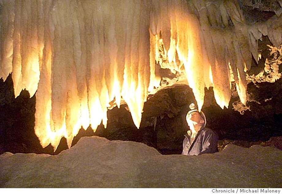 ###Live Caption:Stephen Fairchild looks up at stalagtites in the soon to be opened Landmark Room. Black Chasm National Landmark near the Sierra foothills town of Volcano###Caption History:NEWCAVE08A-C-23FEB01-OT-MJM  Stephen Fairchild looks up at stalagtites in the soon to be opened Landmark Room.  Black Chasm National Landmark near the Sierra foothills town of Volcano will be opening for public tours on April 1st, adding another gem to California cave tycoon Stephen Fairchild.  CHRONICLE PHOTO BY MICHAEL MALONEY###Notes:###Special Instructions:CAT Photo: Michael Maloney