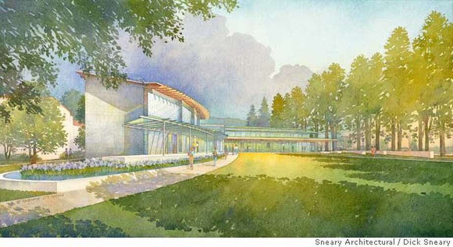 """Architectural Illustration of Mills College Graduate School of Business  Exterior View: with color adjustments & unsharp mask  size: 20.18"""" x 10.68""""  media: watercolor & digital Photo: Dick Sneary"""