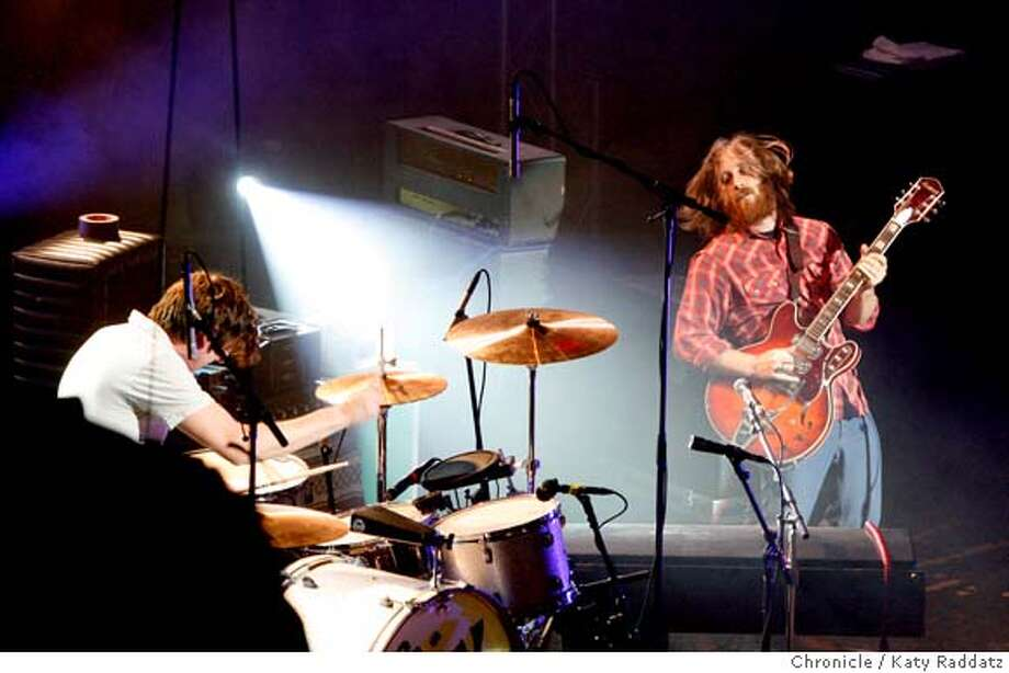The Black Keys, drummer Patrick Carney, left, and guitarist and vocalist Dan Auerbach, right, in concert at the Warfield Theater in San Francisco, Calif. on Wednesday, April 2, 2008.  Photo by Katy Raddatz / San Francisco Chronicle Photo: KATY RADDATZ