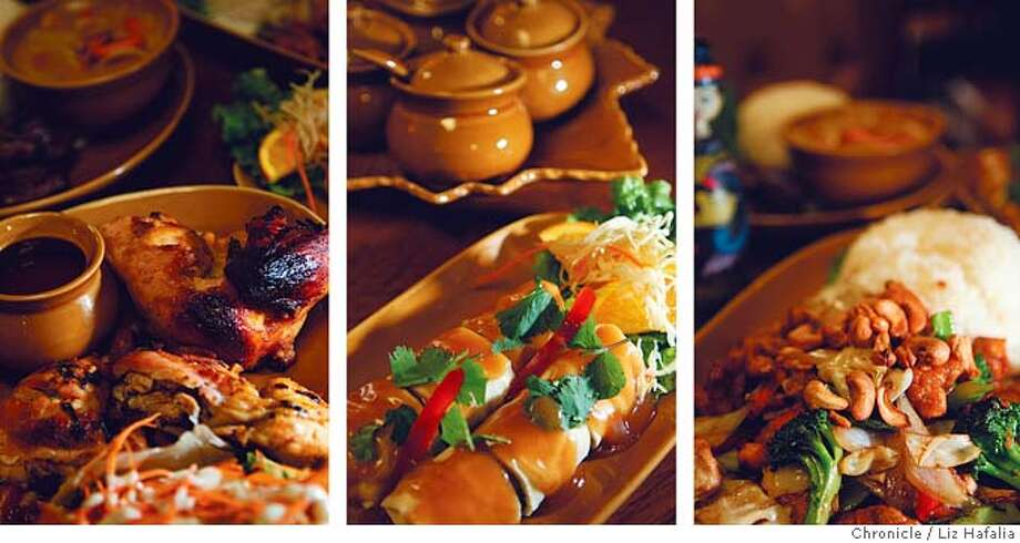 Barbecue chicken (from left), spring rolls and cashew chicken are a few of the dishes at Bang San Thai Cusines. Photos by Liz Hafalia