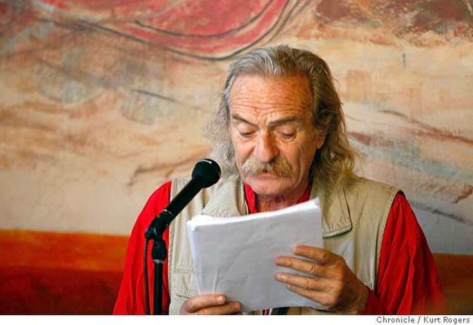 ###Live Caption:Jack Hirschman, SF poet laureate###Caption History:poet Jack Hirschman reads a letter from Iraqi Poet Sabah Jasim .  Poetry reading at Cafe Triest .Lawrence Ferlinghetti and others read . SATURDAY, JULY 28, 2007 KURT ROGERS SAN FRANCISCO SFC  THE CHRONICLE SFPOETREY30_0010_kr.jpg  Ran on: 07-30-2007  Poet Laureate Jack Hirschman conceived the free festival.###Notes:###Special Instructions:MANDATORY CREDIT FOR PHOTOG AND SF CHRONICLE / NO SALES-MAGS OUT Photo: KURT ROGERS