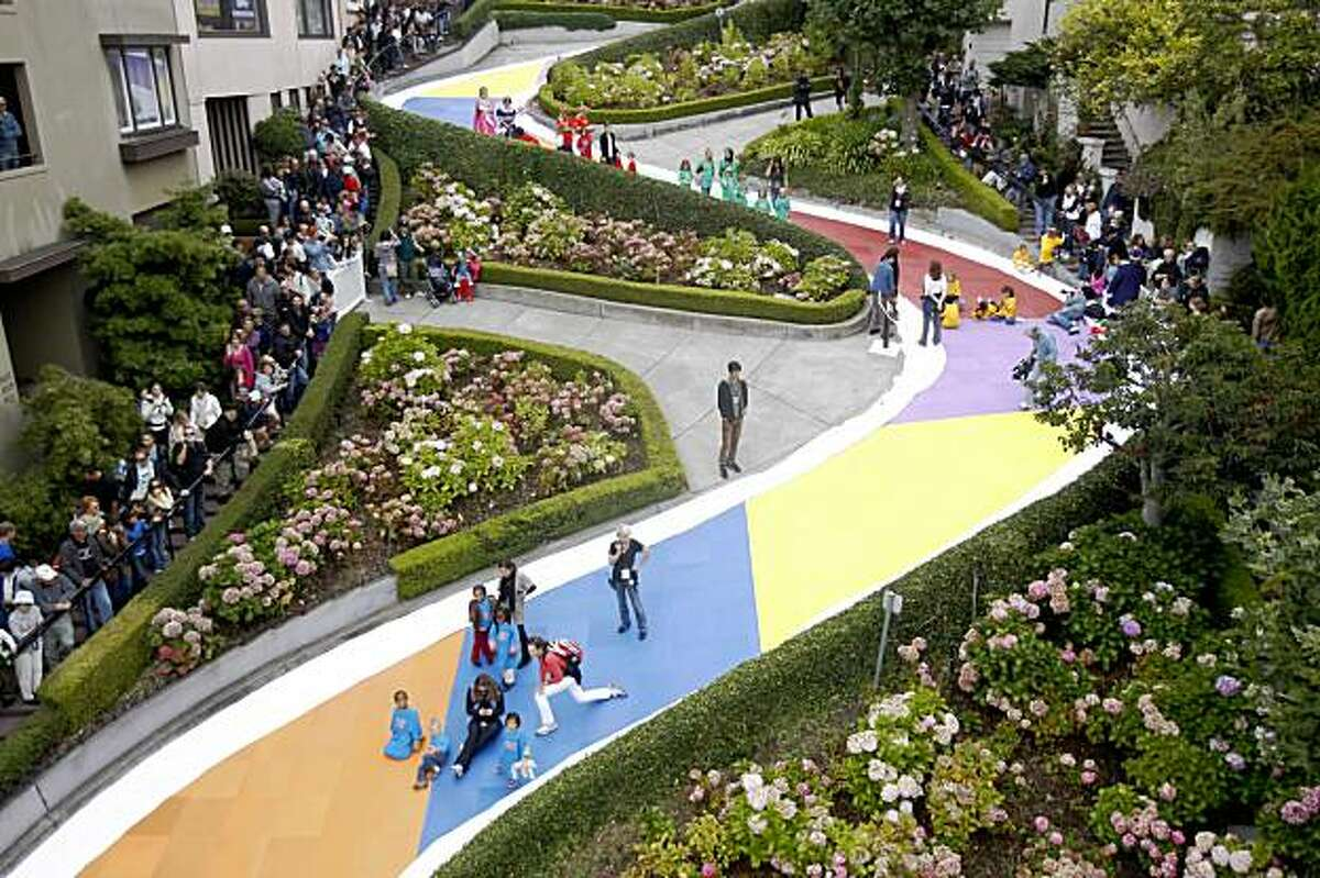 Lombard Street between Leavenworth and Hyde Streets was turned into a Candy Land board game to celebrate it's 60th birthday in San Francisco, Calif. on Wednesday, August 19, 2009.