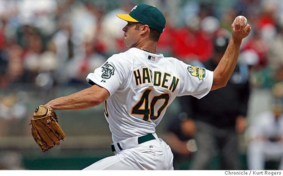 ###Live Caption:The Oakland A's starting pitcher rich Harden in the first inning On Wednesday April 2, 2008 in Oakland , Calif  Photo By Kurt Rogers / San Francisco Chronicle###Caption History:The Oakland A's starting pitcher rich Harden in the first inning On Wednesday April 2, 2008 in Oakland , Calif  Photo By Kurt Rogers / San Francisco Chronicle###Notes:A's Redsox Baseball###Special Instructions:MANDATORY CREDIT FOR PHOTOG AND SAN FRANCISCO CHRONICLE/NO SALES-MAGS OUT Photo: Kurt Rogers