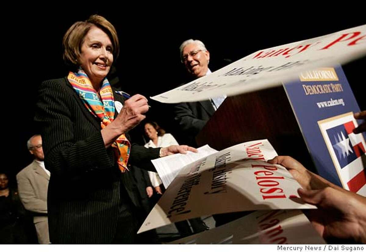 ###Live Caption:U.S. House Speaker Nancy Pelosi signs autographs for her supporters after her speech during the California Democratic Party State Convention on Friday, March 28 2008, in San Jose, Calif. (AP Photo/Mercury News, Dai Sugano) **MAGS OUT, NO SALES**###Caption History:U.S. House Speaker Nancy Pelosi signs autographs for her supporters after her speech during the California Democratic Party State Convention on Friday, March 28 2008, in San Jose, Calif. (AP Photo/Mercury News, Dai Sugano) **MAGS OUT, NO SALES**###Notes:Nancy Pelosi###Special Instructions:MAGS OUT, NO SALES