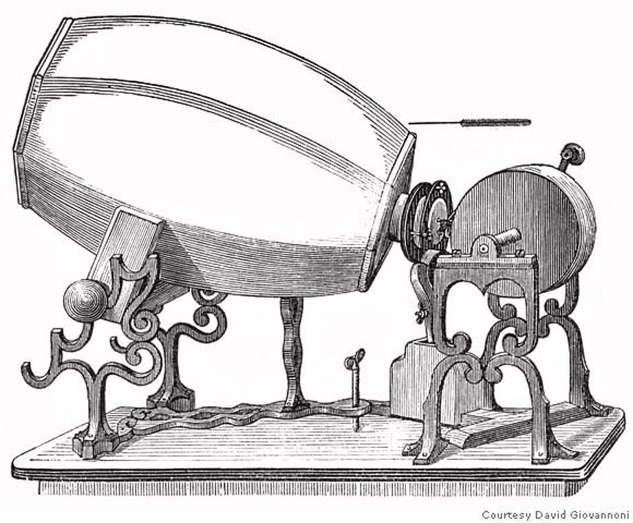 ###Live Caption:This sketch provided by audio historian David Giovannoni shows a phonautograph, a device created by Parisian inventor, Edouard-Leon Scott de Martinville, that captured a visual record of sound. (AP Photo/David Giovannoni)**NO SALES**###Caption History:This sketch provided by audio historian David Giovannoni shows a phonautograph, a device created by Parisian inventor, Edouard-Leon Scott de Martinville, that captured a visual record of sound. (AP Photo/David Giovannoni)**NO SALES**###Notes:###Special Instructions:NO SALES AP provides access to this publicly distributed HANDOUT photo to be used only to illustrate news reporting or commentary on the facts or events depicted in this image. Photo: Courtesy David Giovannoni