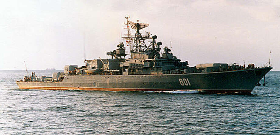 An undated file picture shows Russia's Black Sea Fleet warship and submarine hunter Ladny. Russia has arrested eight nationals of the Baltic states and Russia suspected of hijacking the Arctic Sea cargo ship on July 24, Defence Minister Anatoly Serdyukov said on August 18, 2009. An investigation was underway aboard the Russian warship Ladny, where the 15 crew members and suspected pirates were being questioned, the reports quoted Serdyukov as saying. AFP PHOTO / STR (Photo credit should read STR/AFP/Getty Images) Photo: AFP/Getty Images
