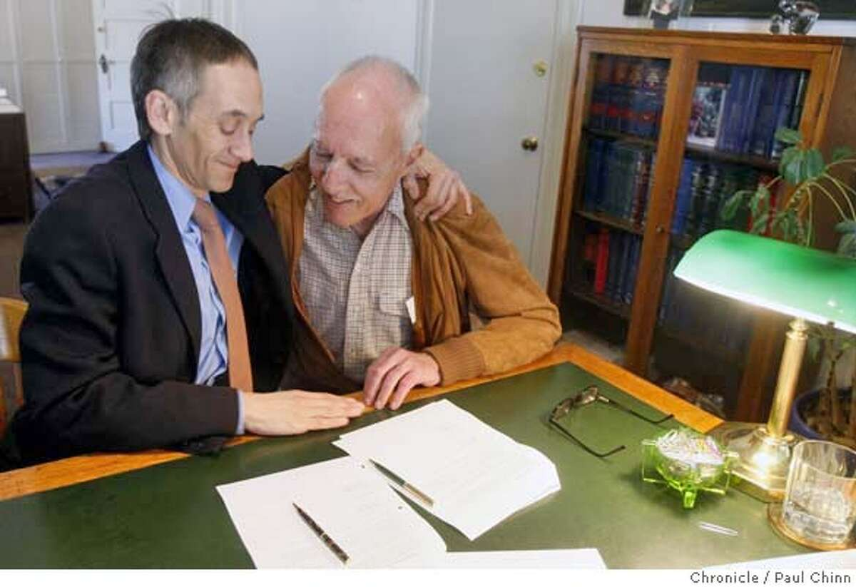 ###Live Caption:Roger Doughty, executive director of the Horizons Foundation, thanks Joseph Rosenthal for transferring his estate holdings to Horizons in San Francisco, Calif., on Thursday, March 6, 2008. Many philanthropists in the gay community are bequeathing their estates to LGBT endowments. Photo by Paul Chinn / San Francisco Chronicle###Caption History:Roger Doughty, executive director of the Horizons Foundation, thanks Joseph Rosenthal for transferring his estate holdings to Horizons in San Francisco, Calif., on Thursday, March 6, 2008. Many philanthropists in the gay community are bequeathing their estates to LGBT endowments. Photo by Paul Chinn / San Francisco Chronicle###Notes:Roger Doughty, Joseph Rosenthal###Special Instructions:MANDATORY CREDIT FOR PHOTOGRAPHER AND S.F. CHRONICLE/NO SALES - MAGS OUT