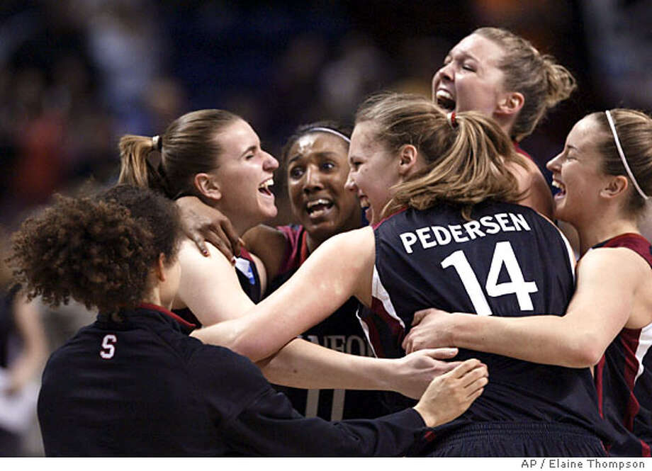 Stanford's Cissy Pierce, from left, Jeanette Pohlen, Candice Wiggins, Kayla Pedersen, Jayne Appel and JJ Hones crowd together as the game against Maryland ends Monday, March 31, 2008, in Spokane, Wash., in the finals of the NCAA Spokane Regional women's basketball tournament. Stanford won 98-87. (AP Photo/Elaine Thompson) Photo: Elaine Thompson
