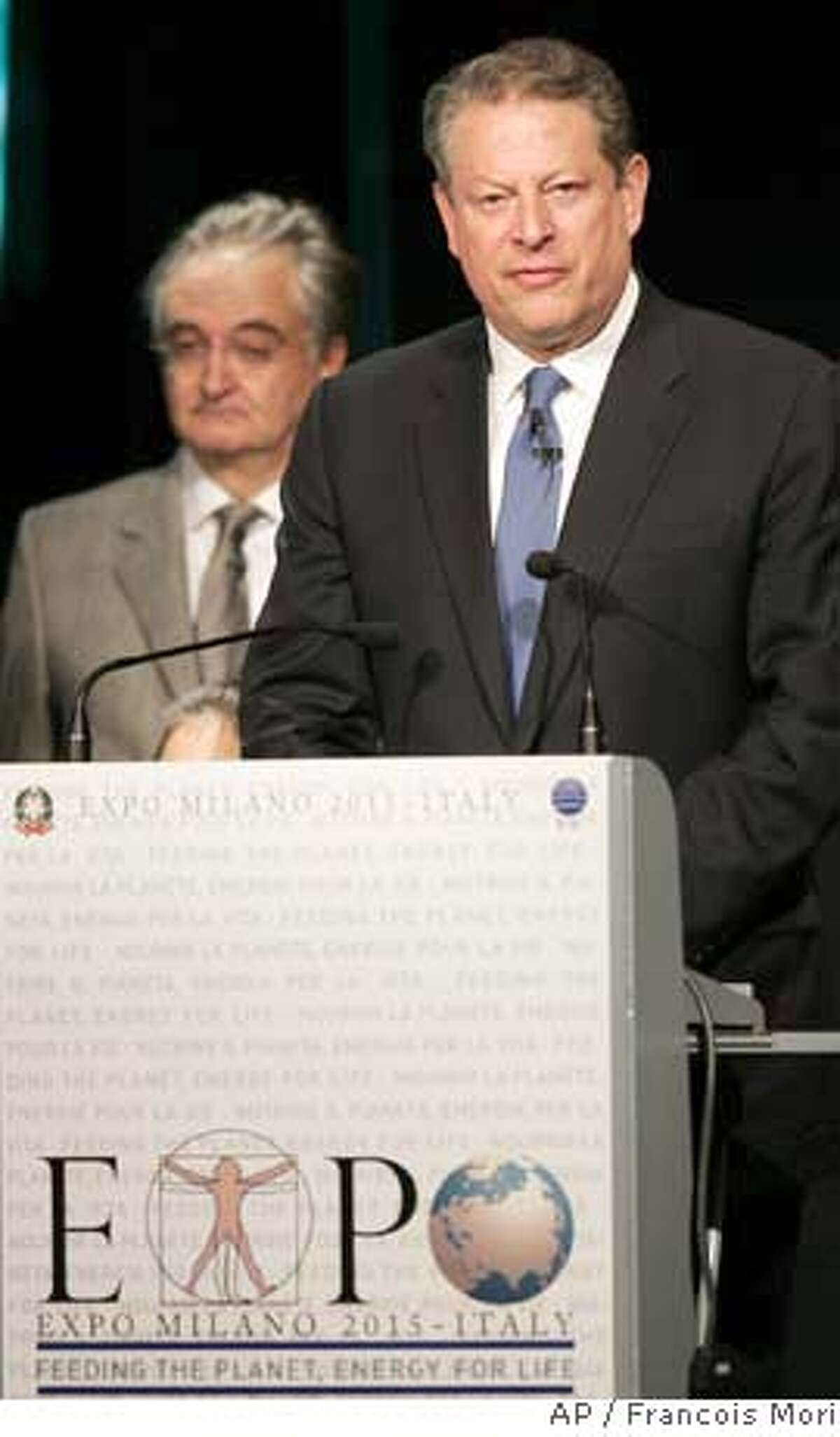 ###Live Caption:Former U.S. Vice President and Chairman of The Alliance for Climate Protection, Al Gore delivers his speech to support Milan's winning bid to host the 2015 World Fair during a ceremony of the International Bureau of Expositions in Paris, Monday, March 31, 2008. Milan, Italy and Izmir, Turkey, were the only two cities bidding to host the 2015 World Fair, as Zaragoza, Spain, is hosting the event in 2008, and Shanghai, China, will be hosting it in 2010. (AP Photo/Francois Mori)###Caption History:Former U.S. Vice President and Chairman of The Alliance for Climate Protection, Al Gore delivers his speech to support Milan's winning bid to host the 2015 World Fair during a ceremony of the International Bureau of Expositions in Paris, Monday, March 31, 2008. Milan, Italy and Izmir, Turkey, were the only two cities bidding to host the 2015 World Fair, as Zaragoza, Spain, is hosting the event in 2008, and Shanghai, China, will be hosting it in 2010. (AP Photo/Francois Mori)###Notes:Al Gore###Special Instructions: