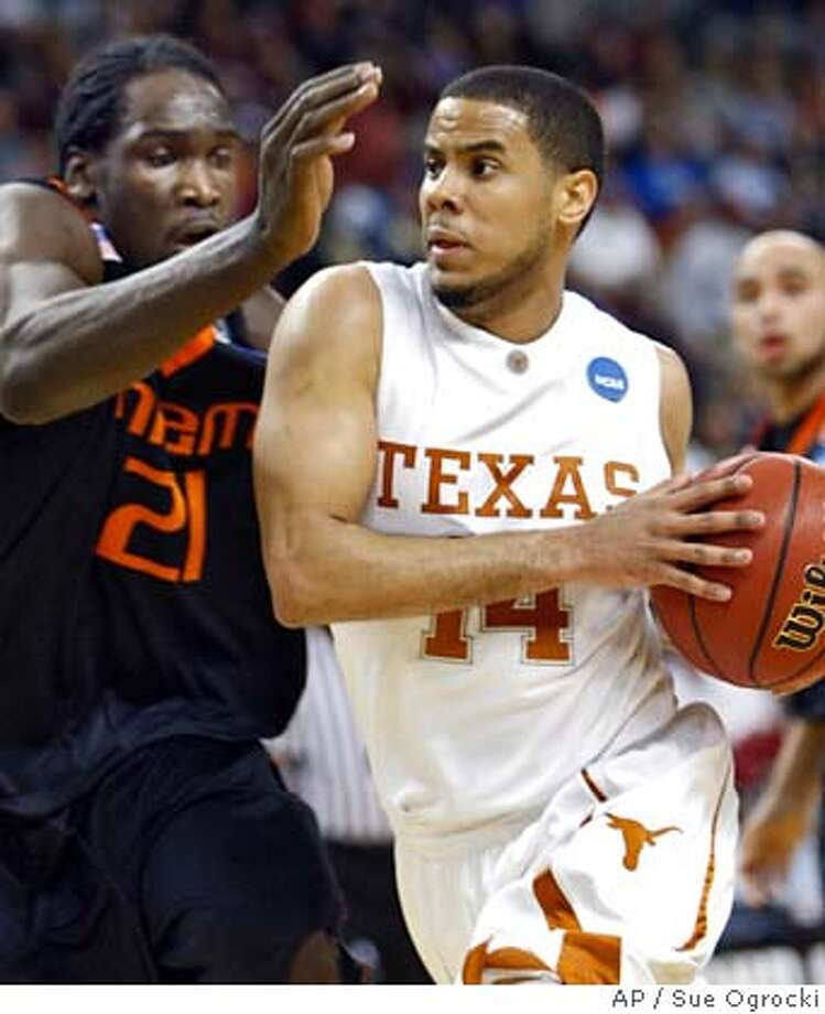 ###Live Caption:Texas guard D.J. Augustin (14) works the ball around Miami forward Dwayne Collins (21) in the first half of an NCAA men's basketball second-round South Regional game, Sunday, March 23, 2008, in North Little Rock, Ark. (AP Photo/Sue Ogrocki)###Caption History:Texas guard D.J. Augustin (14) works the ball around Miami forward Dwayne Collins (21) in the first half of an NCAA men's basketball second-round South Regional game, Sunday, March 23, 2008, in North Little Rock, Ark. (AP Photo/Sue Ogrocki)###Notes:D.J. Augustin, Dwayne Collins###Special Instructions:EFE OUT Photo: Sue Ogrocki