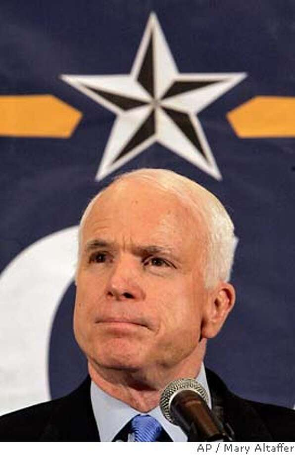 ###Live Caption:Republican presidential candidate, Sen. John McCain, R-Ariz., speaks to reporters during a news conference, Friday, March 28, 2008 in Las Vegas. (AP Photo/Mary Altaffer)###Caption History:Republican presidential candidate, Sen. John McCain, R-Ariz., speaks to reporters during a news conference, Friday, March 28, 2008 in Las Vegas. (AP Photo/Mary Altaffer)###Notes:John McCain###Special Instructions: Photo: Mary Altaffer