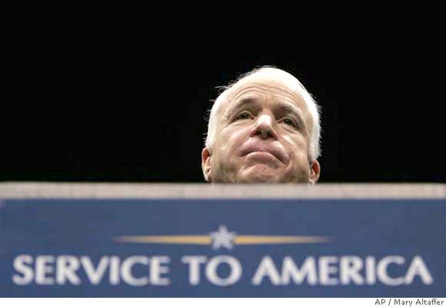 ###Live Caption:Republican presidential candidate, Sen. John McCain, R-Ariz., delivers a speech at the Riley Center at Mississippi State University during his service to America tour, Monday, March 31, 2008, in Meridian, Miss. McCain spoke at length about his family, and family values. (AP Photo/Mary Altaffer)###Caption History:Republican presidential candidate, Sen. John McCain, R-Ariz., delivers a speech at the Riley Center at Mississippi State University during his service to America tour, Monday, March 31, 2008, in Meridian, Miss. McCain spoke at length about his family, and family values. (AP Photo/Mary Altaffer)###Notes:John McCain###Special Instructions: Photo: Mary Altaffer