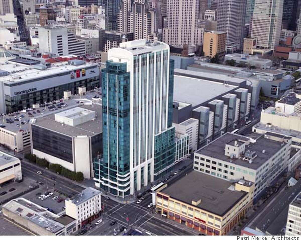 image provided by Mary Tressel of Tressel Communications, 925-798-9421, on behalf of Patri Merker Architects, a San Francisco firm, 415-284-1100. The 32 Intercontinental Hotel San Francisco, designed by Patri Merker Architects, rises from the corner of Fifth and Howard streets in San Francisco, next to the Moscone Convention Center (same block, next building on the right). Ran on: 03-23-2008 Ran on: 03-25-2008 Its tall, its slender, its the Intercontinental Hotel San..
