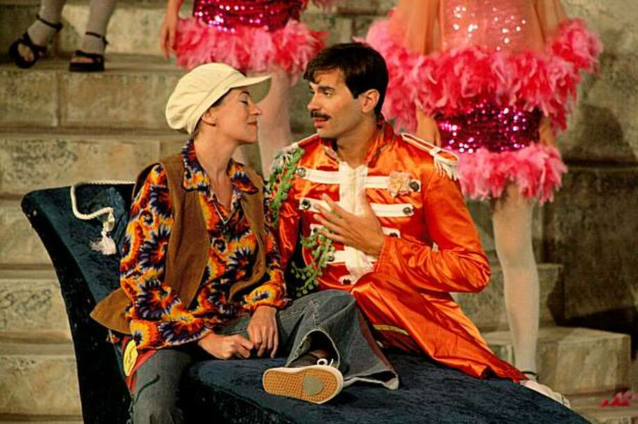 """Alexandra Matthew as Viola (left) and William Elsman as Orsino in Marin Shakespeare's """"Twelfth Night, or All You Need Is Love"""" Photo: Morgan Cowin"""
