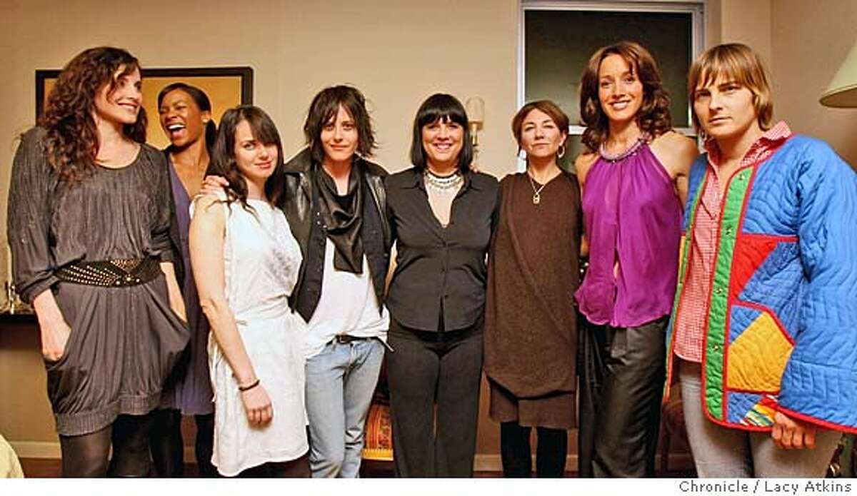 ###Live Caption:Cast members of the L-Word, Rachel Shelly, left, Rose Rollins, Mia Kirshner, Katherine Moennig, Eve Ensler, IIene Chaiken , Jennifer Beals, and Daniela Sea , pose for a photograph at a fundraiser to celebrate the 10th anniversary of V-Day, Sunday March 25, 2008, in San Francisco, Ca. V-Day is a global movement to end violence against women and girls. Photo by Lacy Atkins / San Francisco Chronicle###Caption History:Cast members of the L-Word, Rachel Shelly, left, Rose Rollins, Mia Kirshner, Katherine Moennig, Eve Ensler, IIene Chaiken , Jennifer Beals, and Daniela Sea , pose for a photograph at a fundraiser to celebrate the 10th anniversary of V-Day, Sunday March 25, 2008, in San Francisco, Ca. V-Day is a global movement to end violence against women and girls. Photo by Lacy Atkins / San Francisco Chronicle###Notes:###Special Instructions:MANDATORY CREDIT FOR PHOTOG AND SAN FRANCISCO CHRONICLE/NO SALES MAGS OUT