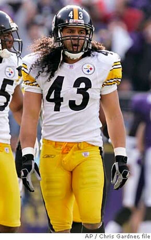 ###Live Caption:** FILE ** Pittsburgh Steelers strong safety Troy Palamalu walks off the field during the first half of their football game against the Baltimore Ravens in Baltimore, in this Nov. 26, 2006 file photo. NFL owners will consider at their meetings in Palm Beach, Fla. next week, a proposal that will ban players from having hair flow from their helmets below their names on the back of their jerseys. (AP Photo/Chris Gardner, file)###Caption History:** FILE ** Pittsburgh Steelers strong safety Troy Palamalu walks off the field during the first half of their football game against the Baltimore Ravens in Baltimore, in this Nov. 26, 2006 file photo. NFL owners will consider at their meetings in Palm Beach, Fla. next week, a proposal that will ban players from having hair flow from their helmets below their names on the back of their jerseys. (AP Photo/Chris Gardner, file)###Notes:Troy Polamalu###Special Instructions:NOV. 26, 2006 FILE PHOTO. EFE OUT Photo: Chris Gardner