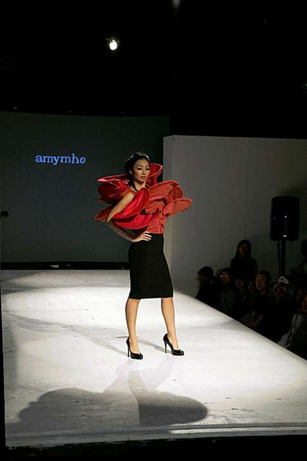 Local installation artist Amy Ho utilized Hula-Hoops in a look shown at APAture Runway Aug. 8 in San Francisco. Photo: Akari West Studio