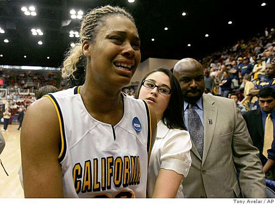 California forward Devanei Hampton cries as she walks off the court after losing 55-53 against George Washington in the second round of the NCAA women's college basketball tournament in Stanford, Calif., on Monday, March 24, 2008. Photo: Tony Avelar, AP