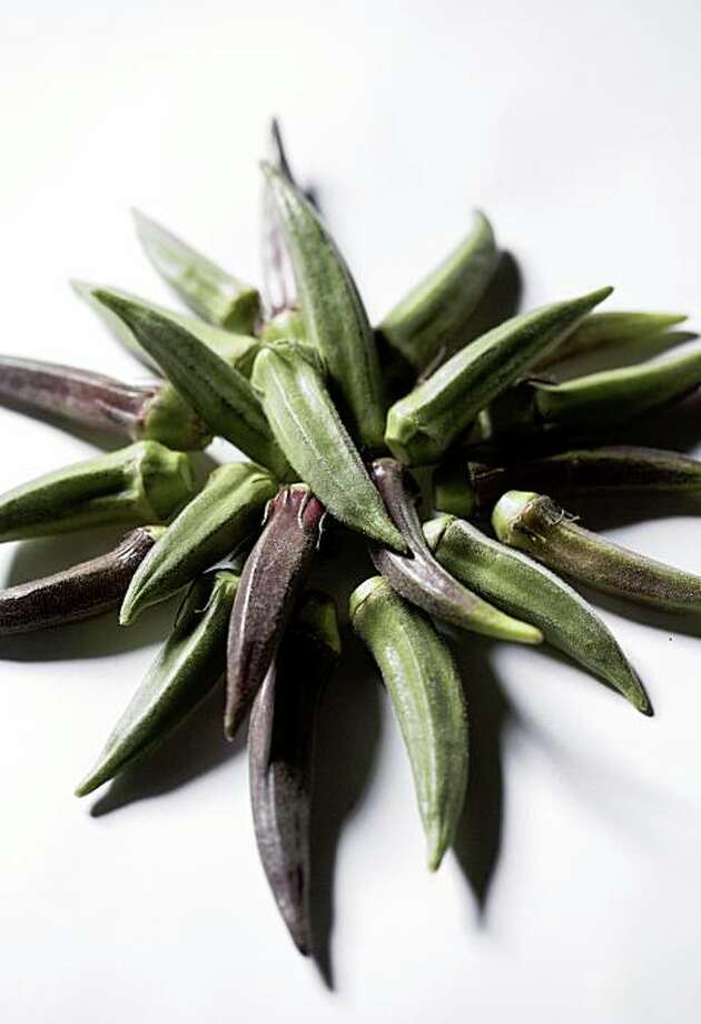 Purple and green okra. Photo: John Lee, The Chronicle