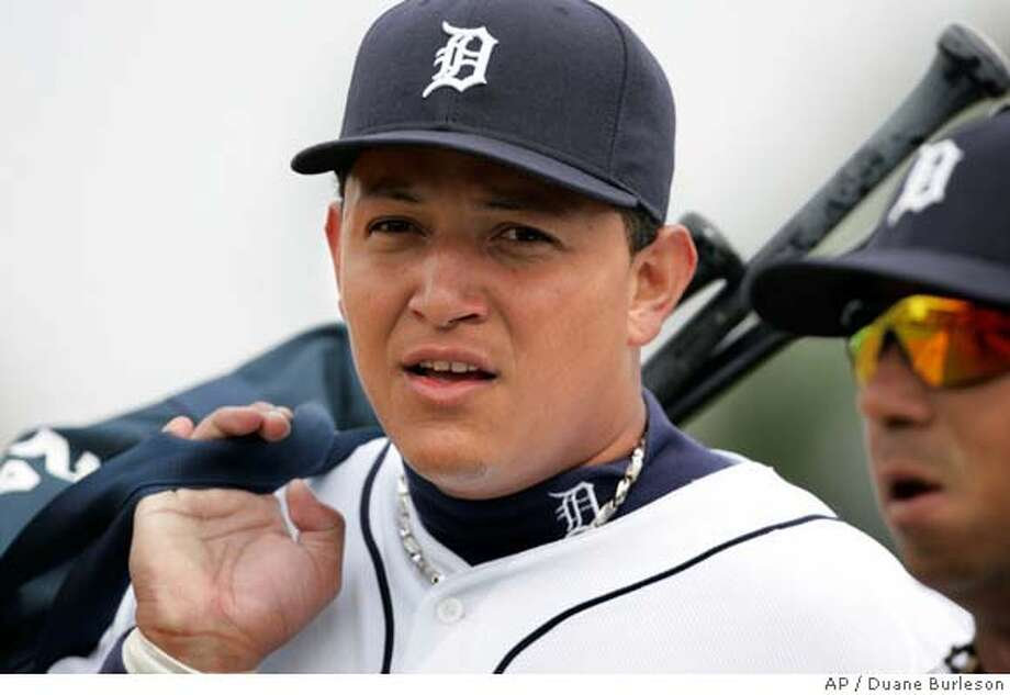 ###Live Caption:** ADVANCE FOR WEEKEND EDITIONS, MARCH 22-23 **Detroit Tigers infielder Miguel Cabrera is seen at the Tigers spring training baseball camp in Lakeland, Fla., Wednesday, Feb. 27, 2008. During the winter metings, Detroit dealt six prospects to the Marlins for Miguel Cabrera and Dontrelle Willis.(AP Photo/Duane Burleson)###Caption History:** ADVANCE FOR WEEKEND EDITIONS, MARCH 22-23 **Detroit Tigers infielder Miguel Cabrera is seen at the Tigers spring training baseball camp in Lakeland, Fla., Wednesday, Feb. 27, 2008. During the winter metings, Detroit dealt six prospects to the Marlins for Miguel Cabrera and Dontrelle Willis.(AP Photo/Duane Burleson)###Notes:Miguel Cabrera###Special Instructions:** ADVANCE FOR WEEKEND EDITIONS, MARCH 22-23 ** EFE OUT Photo: Duane Burleson