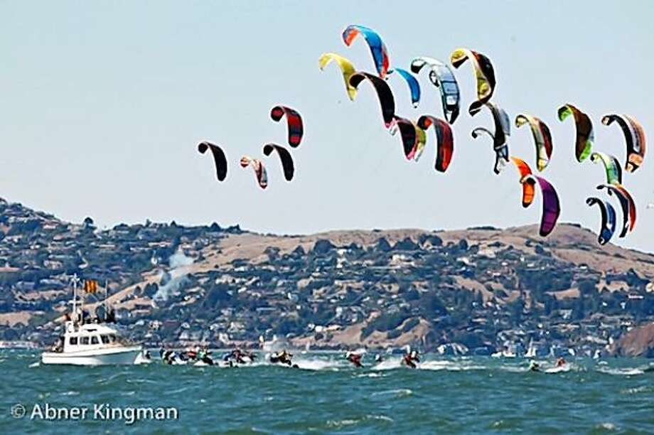 The start of the kiteboard racing world championship makes an impressive show off Crissy Field. Photo: Abner Kingman/St. Francis YC