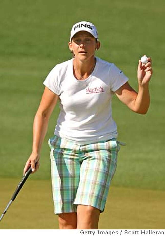 ###Live Caption:SUPERSTITION MOUNTAIN, ARIZONA - MARCH 27: Angela Stanford waves to the gallery after a birdie on the 15th hole during the first round of the Safeway International at Superstition Mountain Golf and Country Club on March 27, 2008 in Superstition Mountain, Arizona. (Photo by Scott Halleran/Getty Images)###Caption History:SUPERSTITION MOUNTAIN, ARIZONA - MARCH 27: Angela Stanford waves to the gallery after a birdie on the 15th hole during the first round of the Safeway International at Superstition Mountain Golf and Country Club on March 27, 2008 in Superstition Mountain, Arizona. (Photo by Scott Halleran/Getty Images)###Notes:Safeway International###Special Instructions: Photo: Scott Halleran