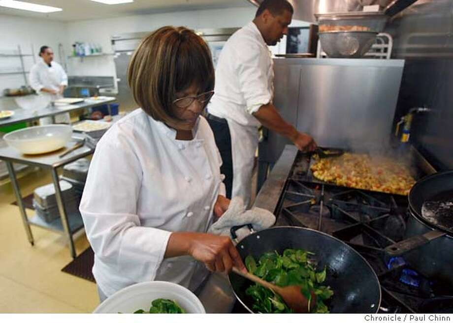 ###Live Caption:Karen Bevels, left, and Jim Miller prepare a catered breakfast for 15 people at her cafe in Hayward, Calif., on Wednesday, March 19, 2008. Bevels offers a lower cost catered meal, about half the price of her regular service, to meet the demands of clients in the declining economic environment.  Photo by Paul Chinn / San Francisco Chronicle###Caption History:Karen Bevels, left, and Jim Miller prepare a catered breakfast for 15 people at her cafe in Hayward, Calif., on Wednesday, March 19, 2008. Bevels offers a lower cost catered meal, about half the price of her regular service, to meet the demands of clients in the declining economic environment.  Photo by Paul Chinn / San Francisco Chronicle###Notes:Karen Bevels, Jim Miller###Special Instructions:MANDATORY CREDIT FOR PHOTOGRAPHER AND S.F. CHRONICLE/NO SALES - MAGS OUT Photo: Paul Chinn
