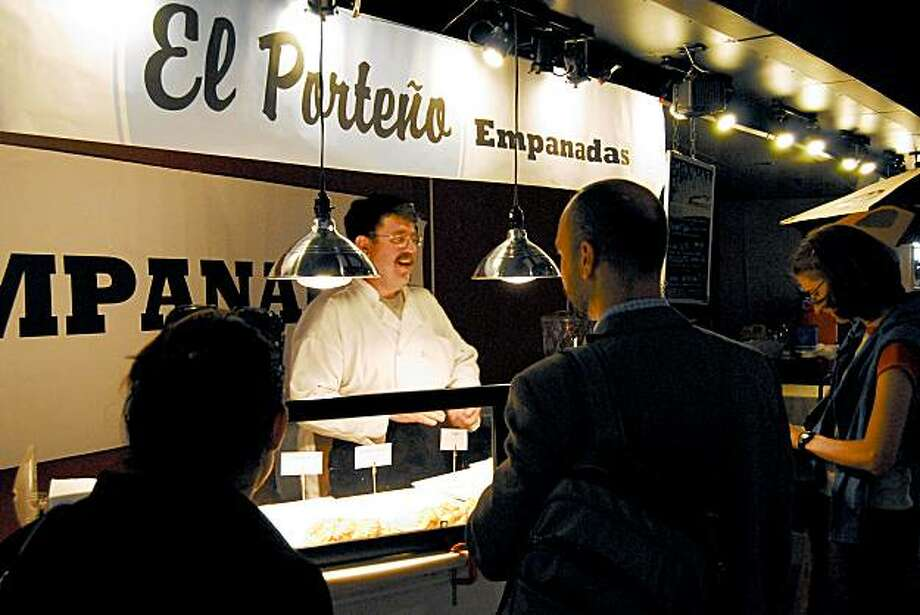 El Porteno:Empanadas are the name of the game at this popular spot, with a tiny outpost in the Ferry Building and a food truck to boot. The Argentine-style hand-held snacks ($4 each) are sufficiently filling - two to three would make a meal. And the selection is so varied you'll want more than one. Inside the buttery dough, look for fillings like ground beef, raisins and olives, or mushrooms with creme fraiche. For dessert, don't miss the dulce de leche and banana empanada, or the decadent alfajores.Vitals: 1 Ferry Plaza (in the Ferry Building), S.F; (415) 513-4529. www.elportenosf.com. Open daily. Photo: Mathew Ramsey