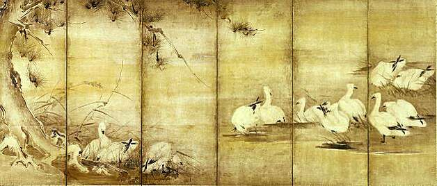 A panel folding screen attributed to famous samurai warrior and artist Miyamoto Musashi depicts a group of geese gathering to rest or feed. The scene is said to depict Musashi's energy, movement, and precision.  PERMISSION IS GRANTED TO REPRODUCE THIS IMAGE SOLELY IN CONNECTION WITH A REVIEW OR EDITORIAL COMMENTARY ON THE LORDS OF THE SAMURAI EXHIBITION AT THE ASIAN ART MUSEUM JUNE 12 - SEPTEMBER 20, 2009. ALL OTHER REPRODUCTIONS ARE STRICTLY PROHIBITED WITHOUT THE PRIOR WRITTEN CONSENT OF THE COPYRIGHT HOLDER AND/OR MUSEUM.  Wild Geese and Reeds, Attributed to Miyamoto Musashi (11584-1645), Japan. Edo period (1615-1868), 1640-1645. One of a pair of six-panel folding screens; ink on paper. Eisei-Bunko Museum, 1738. © Eisei Bunko, Japan. Photo: Courtesy, Asian Art Museum