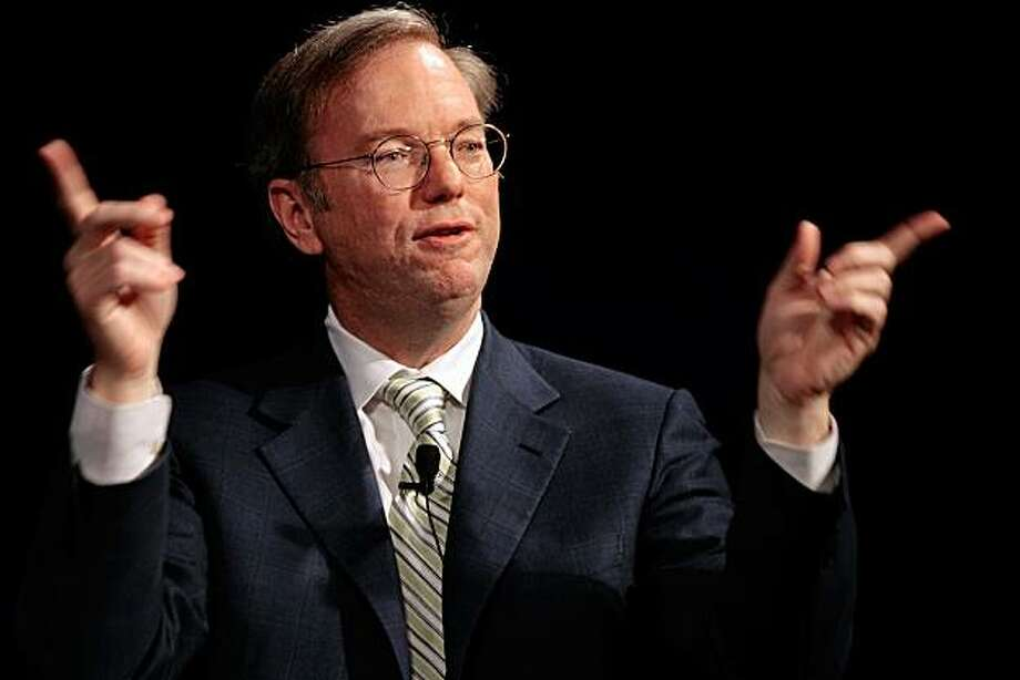 "WASHINGTON - JUNE 9: (FILE PHOTO) Google Chairman and CEO Dr. Eric Schmidt discusses ""The Future of the Internet: Engine for Economic Growth"" during a meeting of the Economic Club of Washington at the Ritz-Carlton Hotel June 9, 2008 in Washington, DC. Schmidt resigned from the board of Apple effective immediately August 3, 2009.  (Photo by Chip Somodevilla/Getty Images) Photo: Chip Somodevilla, Getty Images"