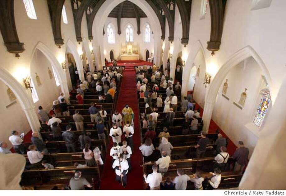 ###Live Caption:LATINMASS_044_RAD.jpg  SHOWN: Father Michael Wiener and attendants leave the altar after Mass. Fr. Michael Wiener of St. Margaret Mary Catholic Church in Oakland performs the Sunday mass in Latin on July 29, 2007.  (Katy Raddatz/The Chronicle)  **Fr. Michael Wiener###Caption History:LATINMASS_044_RAD.jpg  SHOWN: Fr. Michael Wiener and attendants leave the altar after Mass. Fr. Michael Wiener of St. Margaret Mary Catholic Church in Oakland performs the Sunday mass in Latin.  (Katy Raddatz/The Chronicle)  **Fr. Michael Wiener###Notes:###Special Instructions:Mandatory credit for the photographer and the San Francisco Chronicle. No sales; mags out. Photo: Katy Raddatz