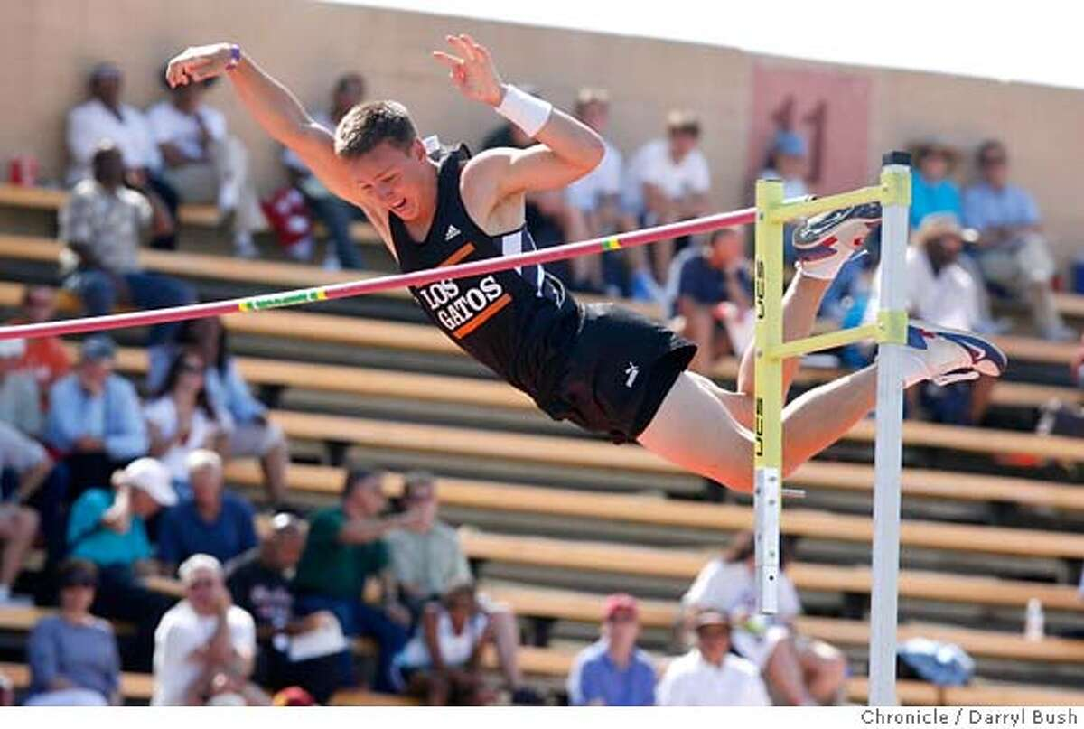 ###Live Caption:statetrack03_0016_db.JPG Nico Weiler of Los Gatos clears the bar on one of his attempts winning the Boys Pole Vault finals at the CIF State Track and Field Championships finals at Sacramento City College in Sacramento, CA, on Saturday, June, 2, 2007. photo taken: 6/2/07 Darryl Bush / The Chronicle ** roster (cq)###Caption History:statetrack03_0016_db.JPG Nico Weiler of Los Gatos clears the bar on one of his attempts winning the Boys Pole Vault finals at the CIF State Track and Field Championships finals at Sacramento City College in Sacramento, CA, on Saturday, June, 2, 2007. photo taken: 6/2/07 Darryl Bush / The Chronicle ** roster (cq) Ran on: 06-03-2007 Los Gatos Nico Weiler vaulted clear of the field to win the state championship with a mark of 17 feet, 2 inches. Ran on: 06-03-2007 Los Gatos Nico Weiler vaulted clear of the field to win the state championship with a mark of 17 feet, 2 inches.###Notes:###Special Instructions:MANDATORY CREDIT FOR PHOTOG AND SF CHRONICLE/NO SALES-MAGS OUT