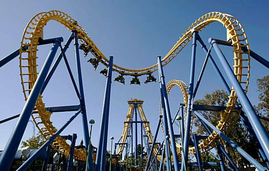 "The ""Invertigo"" roller coaster at California's Great America in Santa Clara twists and turns it's way through the sky with riders aboard in this file photo. Photo: Michael Macor, The Chronicle"