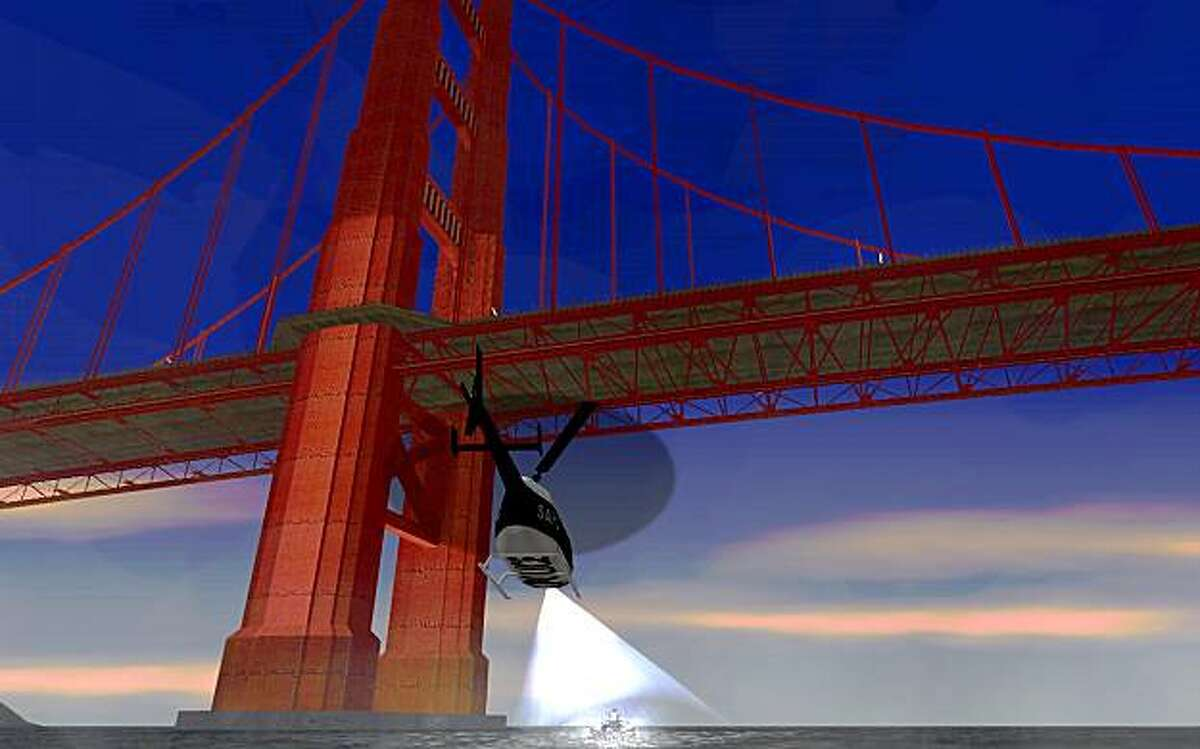 A helicopter flies under the Golden Gate Bridge in Grand Theft Auto: San Andreas.