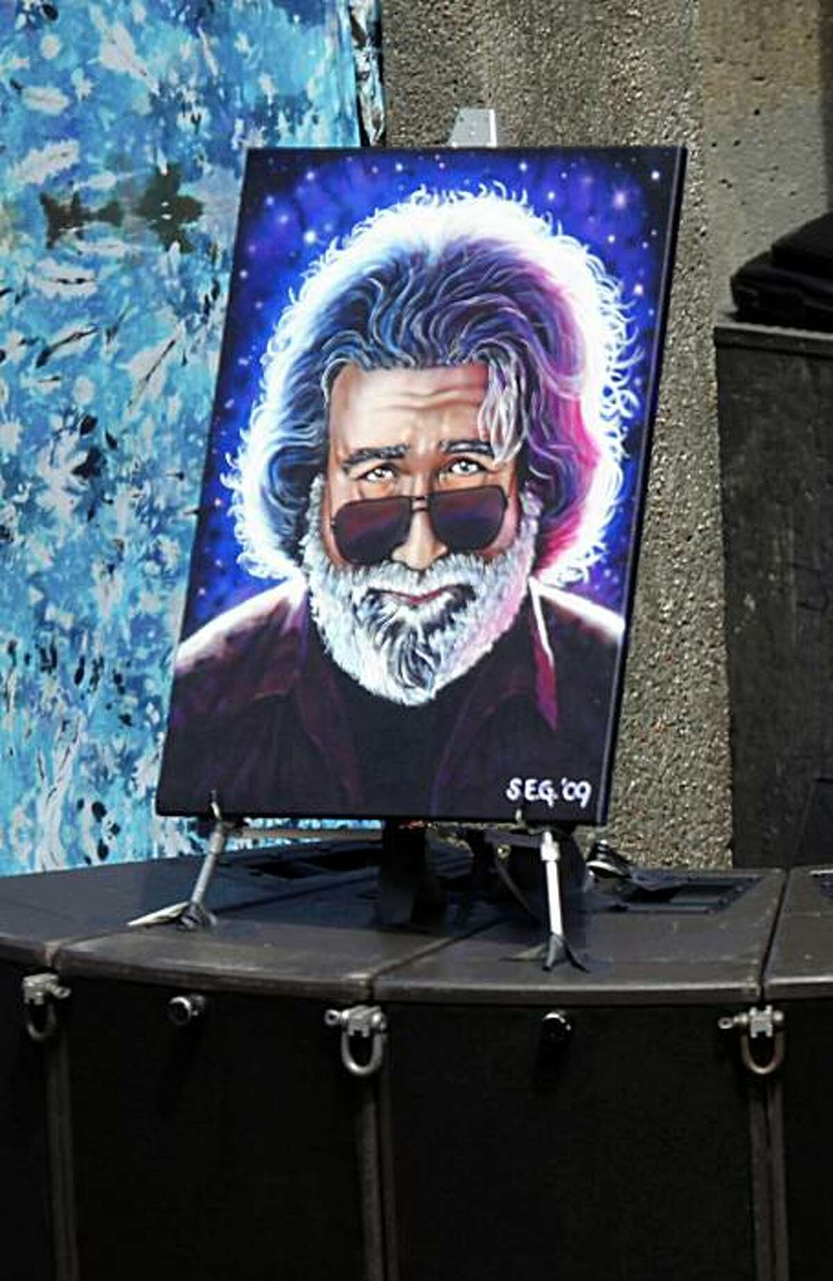 A portrait of Jerry Garcia on stage at the seventh annual Jerry Day celebration in John McClaren Park on Sunday.