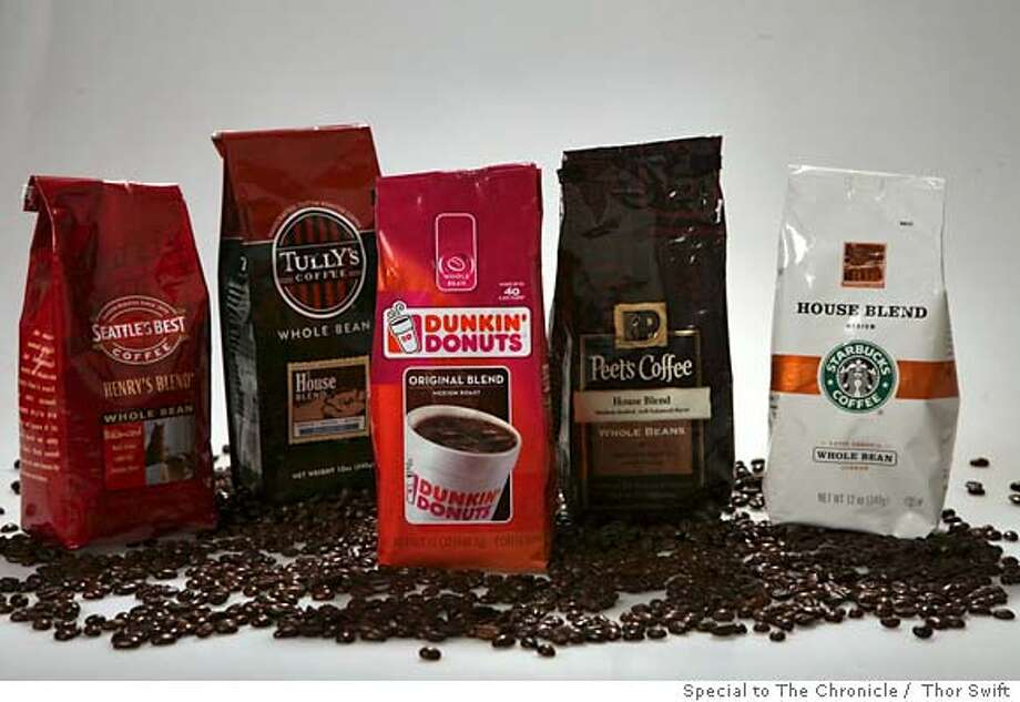 ###Live Caption:Various coffee brands with focus on the newest competetor Dunkin Donuts Coffee photographed at the San Francisco Chronicle studio, Thursday, Feb. 28, 2008.  Thor Swift for The San Francsico Chronicle###Caption History:Various coffee brands with focus on the newest competetor Dunkin Donuts Coffee photographed at the San Francisco Chronicle studio, Thursday, Feb. 28, 2008.  Thor Swift for The San Francsico Chronicle###Notes:###Special Instructions: Photo: Thor Swift
