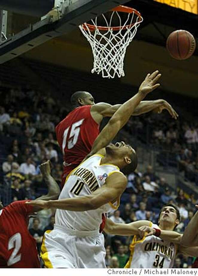 Cal Bears Jamal Boykin (10) is fouled in the final seconds by New Mexico Lobos J.R. Giddens (15).  The Cal Bears men's basketball team hosts the New Mexico Lobos in the first round of the National Invitation Tournament on Wednesday, March18, 2008 at Haas Pavilion on the UC Berkeley (Calif.) campus. The Bears won 68-66. Photo by Michael Maloney / San Francisco Chronicle  Ran on: 03-20-2008  New Mexico's J.R. Giddens looks as if he cleanly has rejected Jamal Boykin's shot in the final seconds. However, the Lobos' Jonathan Wills was called for a foul.  Ran on: 03-20-2008  New Mexico's J.R. Giddens looks as if he cleanly has rejected Jamal Boykin's shot in the final seconds. However, the Lobos' Jonathan Wills was called for a foul. Boykin hit both free-throw attempts. Photo: Michael Maloney